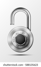 Vector realistic opened padlock. Steel Mechanical Combination lock. Privacy illustration. Enter the PIN code. Electronic open lock icon. Reliable Protection badge. Code combination symbol