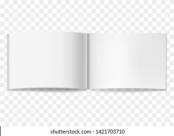 Vector realistic opened white blank book, journal or brochure mockup. Blank open centre page spread of sketchbook or notebook template for catalog, brochure design