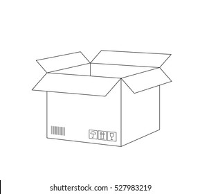 Vector realistic outline open postal box sketch on a white background