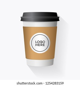 Vector realistic paper cup isolated on white background. 3d plastic coffee blank cup mockup for cafe, shop, restaurant brand identity design, drink, lemonade, fresh juice 10 eps