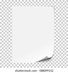 Vector realistic paper sheet with folded corner. Paper sheet A4 with shadows on transparent background.