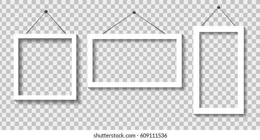 Vector realistic paper white frames on the transparent background for decoration and corporate identity design