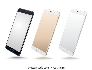 Vector Realistic perspective smartphone mockups set isolated. Vector illustration for printing and web element, Game and application mockup.