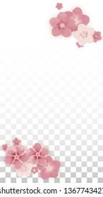 Vector Realistic Pink Flowers Falling on Transparent Background.  Spring Romantic Flowers Illustration. Flying Petals. Sakura Spa Design. Blossom Confetti. Design Elements for  Poster Design.