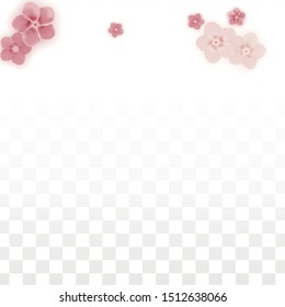 Vector Realistic Pink Flowers Falling on Transparent Background.  Spring Romantic Flowers Illustration. Flying Petals. Sakura Spa Design. Blossom Confetti. Design Elements for  8 March Card.
