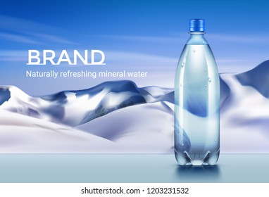 Vector realistic plastic bottle of mineral water on mountains background. Design for advertising flyer or banner for branding