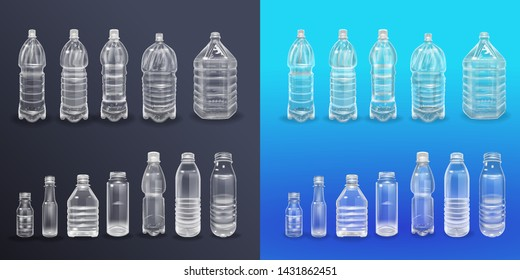 Vector Realistic Plastic Container Mineral Water Bottle Beverage Label Isolated Empty Plastic Water Bottle Beverage Drinking Mineral vector Plastic Object Isolated 3D Empty Label illustration isolated