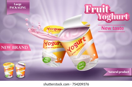 Vector realistic poster for advertising yogurt. Natural milk or creamy yogurt in large package with open lid and yogurt splash isolated on a light purple background, 3D illustration
