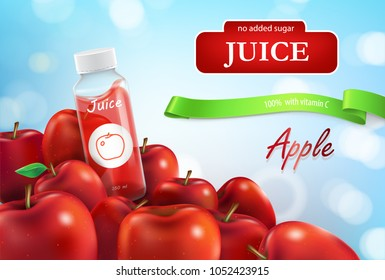 Vector realistic promo banner of apple juice, poster for advertising liquid in plastic bottle, glass jar. 3d template for product, concept with ripe apples on blue background