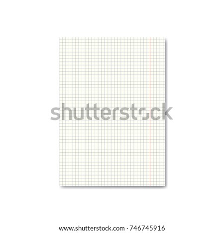 vector realistic quadrille graph paper sheet stock vector royalty