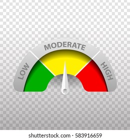 Vector realistic rating meter on the transparent background