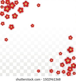 Vector Realistic Red Flowers Falling on Transparent Background.  Spring Romantic Flowers Illustration. Flying Asian Rose Spa Design. Blossom Confetti. Design Elements for  Mother's Day.