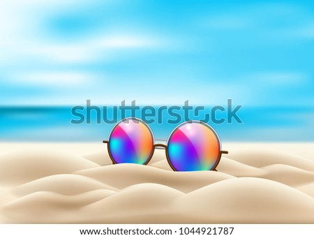 7ca9816a8b Vector realistic retro circle eyeglasses on beach sand. Vintage hipster  gradient lens on seaside ocean