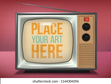 vector realistic retro television mock up