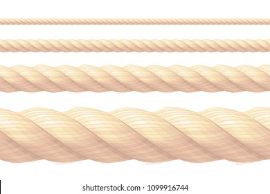 vector realistic rope pattern, brush, texture Brown straight string thread cord Bowknot border frame Nautical, maritime, marine, naval, navy, sea, ocean vintage collection isolated white background 1