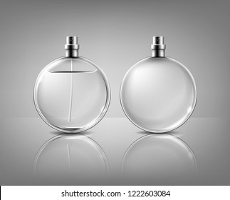Vector realistic round glass bottle of perfume with a spray gun, full  and empty  isolated on background