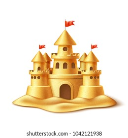 Vector realistic sand castle, fort or fortress with towers, gates and flags. 3d summer vacation travel kids children leisure fun play object. Illustration tropical resort sculpture isolated background