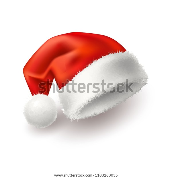 21a30a3804eb34 Vector realistic santa hat, cap. Merry Christmas holiday, new year  headdress for winter