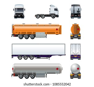 Vector realistic semitruck mock-up set isolated on white background for branding. Front, side, rear view. Available EPS-10 separated by groups and layers for easy edit.