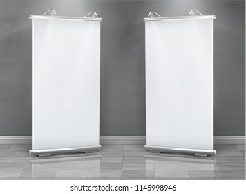 Vector realistic set of blank roll up banners, vertical stands for exhibition and business presentations, isolated on gray background. Mockup with white boards, roll-up displays for commercial ads