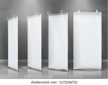 Vector realistic set of blank roll up banners, vertical stands for exhibition and business presentations isolated on gray background. Mockup with empty white billboards, roll-up displays for ads