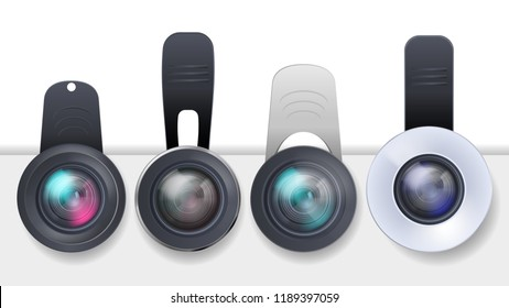 Vector realistic set of clip-on lenses for mobile devices, smartphones and tablets isolated on white background. Modern portable gadget, mini objective to attach on cell phone photo camera