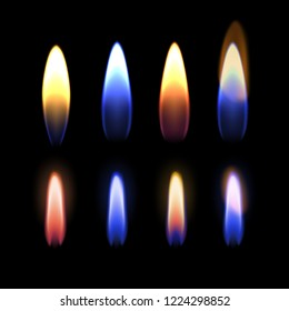 Vector realistic set of close up burning multicolored flame of gas, zinc, potassium, strontium, sodium, and copper, details of fire isolated on black background