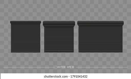 Vector realistic set of closed door or window rollers. Black metal blinds.
