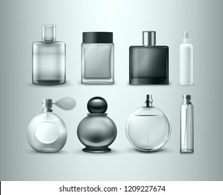 Vector realistic set of different perfume bottles and cosmetic samplers isolated on background