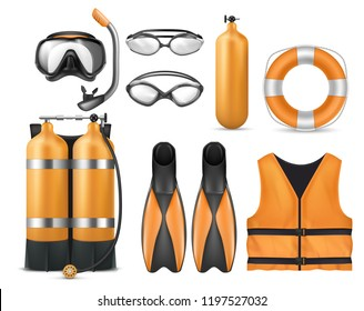 Vector realistic set of diving equipment, snorkeling mask, flippers, swim glasses, aqualung, life jacket and lifebuoy isolated on background. Scuba gear with accessories for swimming underwater