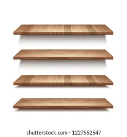 Vector realistic set of empty wooden shelves isolated on white wall background