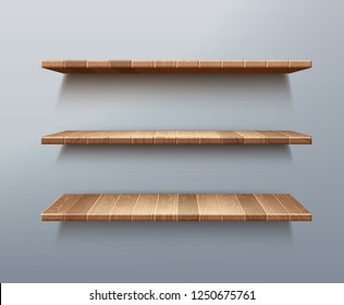 Vector realistic set of empty wooden shelves isolated on wall background