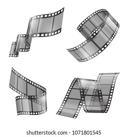 Vector realistic set of film strip, movie or photo tape, curved fragments, empty and transparent isolated on background. Retro cinema frames with black borders and perforation. Clipart for your design