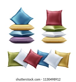 Vector realistic set of folded colorful square and rectangular pillows. Square cushion in red, blue, green, violet, yellow colors illustration isolated on white background