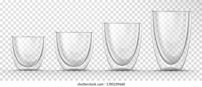 Vector realistic set of glass empty cups different sizes on transparent background. 3d glassware for coffee, tea, juice, bar beverage, alcohol drink. Double walled mugs mockup for restaurant, cafe.