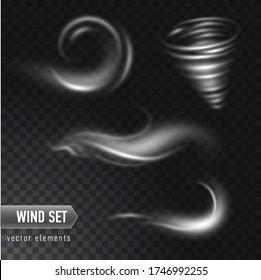 Vector realistischer Satz von hoher detaillierter Wind- oder Staubwolke isoliert auf transparentem Hintergrund. Wirkung von weißem Rauch, Nebel, Spray.