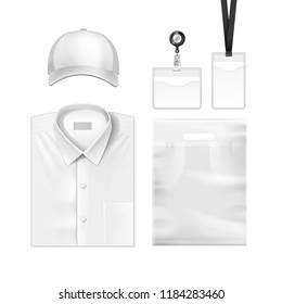 Vector realistic set of identification cards, name tag holders, empty plastic badge with blank shirt and cap. Template for corporate identity isolated on white background