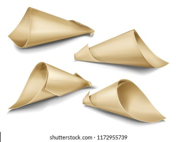 Vector realistic set of paper cone bags. Hand made packaging for snacks, street food, gifts and souvenirs, flowers and festive confetti twisted from kraft paper