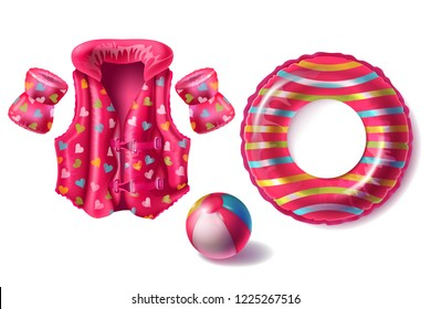 Vector realistic set with pink rubber ring, life jacket and armbands with pattern, inflatable beach ball for kids isolated on white background. Equipment for swimming and playing in pool and sea