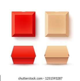 Vector realistic set of red and beige paper boxes for burgers. Top and front side view isolated on white background