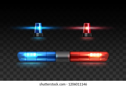 Vector realistic set of red and blue lights on top of police car or siren illuminated isolated on transparent background. Ambulance car warning lights alarm