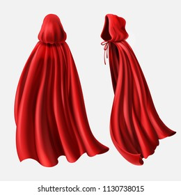 Vector realistic set of red cloaks with hood, flowing silk fabrics isolated on white. Satin wavy materials, drapery. Carnival clothes, decorative costume for superhero, vampire, cape for illusionist