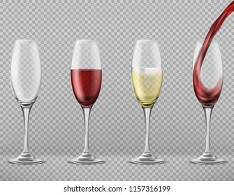 Vector realistic set of tall glasses empty, with pouring red wine, white merlot or champagne isolated on transparent background. Clipart of wineglasses, glassware for alcoholic drinks or cocktails