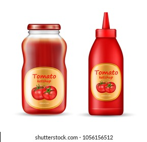 Vector realistic set with two bottles of ketchup, plastic and glass jars with closed lids and labels isolated on background. Red tomato sauce, paste, natural spicy condiment, mockup for package design