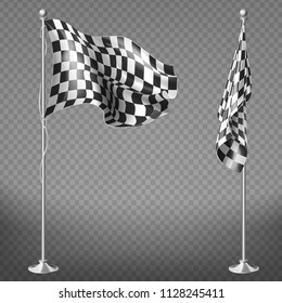 Vector realistic set of two racing flags on steel poles isolated on transparent background. Checkered waving canvas to check start or finish of car races, rally. Mockup for your design