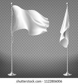 Vector realistic set of two white flags on steel poles isolated on transparent background. Blank waving banner on flagpole, fabric with empty space for advertising messages. Mockup for your design