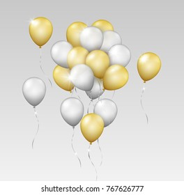 Vector realistic shiny group of silver and gold flying balloons isolated on grey background