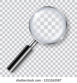 Vector realistic shiny transparent magnifying glass with shadow isolated on transparent background - analysis, search, exploration