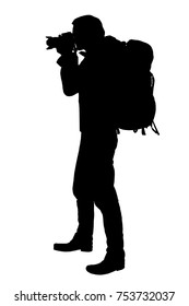 Vector realistic silhouette of a standing photographer with a backpack on the back, isolated on a white background