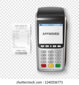 Vector Realistic Silver 3d Payment Machine. POS Terminal with Receipt Closeup Isolated. Design Template of Bank Payment Terminal, Mockup. Processing NFC payments device. Top View